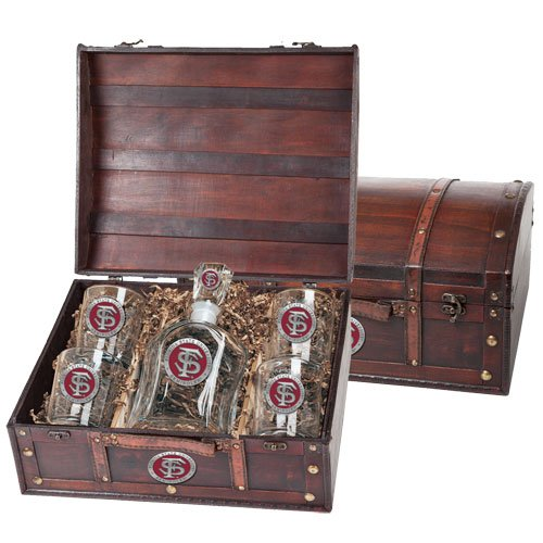 Florida State Seminoles Capitol Decanter Wood Chest Set by Heritage Pewter