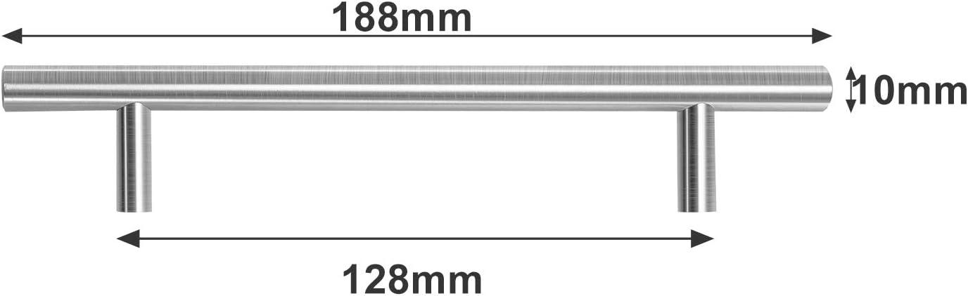 Hengda 20 St/ück M/öbelgriffe Lochabstand 160mm Schrankgriffe Edelstahl Geb/ürstet Schubladengriffe Stangengriff Griffe f/ür K/üchenschr/änke Rohrbreite 10mmx10mm T/ürgriffe K/üche 160mm Gesamtl/änge 220mm
