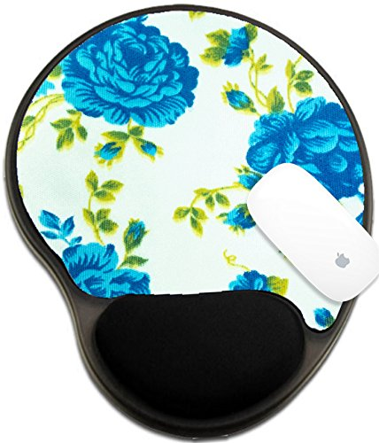 Luxlady Mousepad wrist protected Mouse Pads/Mat with wrist support design IMAGE ID: 22646351 Blue flower pattern on side of my jean