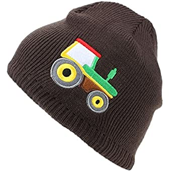 ee9e353fccf Hawkins Childrens Fine Knit Beanie Hat with Embroidered Tractor - Brown