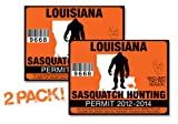 Louisiana-SASQUATCH HUNTING PERMIT LICENSE TAG DECAL TRUCK POLARIS RZR JEEP WRANGLER STICKER 2-PACK!-LA