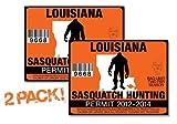 Louisiana-SASQUATCH HUNTING PERMIT LICENSE TAG DECAL TRUCK POLARIS RZR JEEP WRANGLER STICKER 2-PACK!-LA