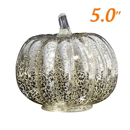 JARVANIA Fall Decor Glass Pumpkins, Halloween Candles LED Fall Decorations, Glass Pumpkins Decorations Made of Mercury, Lanterns Decorative Battery Operated (Small Silver) (Wicker With Pumpkin Lights)