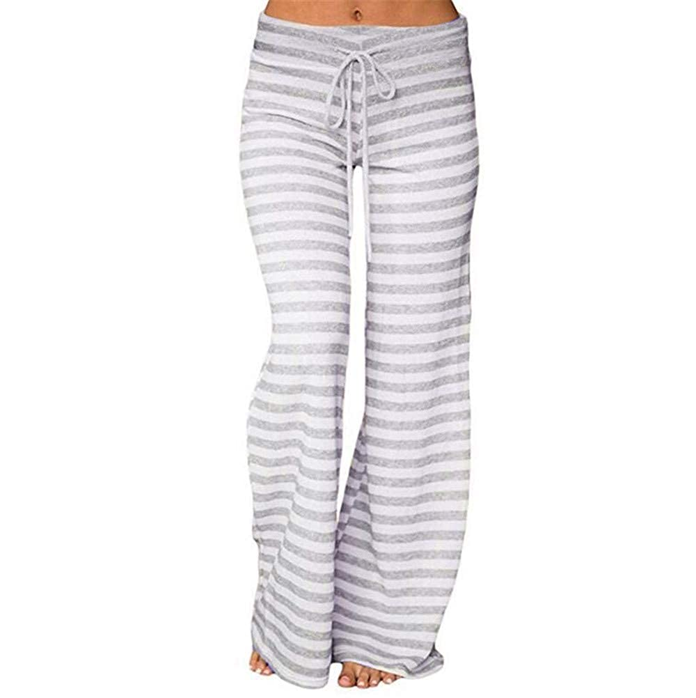 Women Striped High Waist Elastic Loose Wide Leg Trousers Dancing Yoga Pants by Teresamoon Teresamoon-Pants