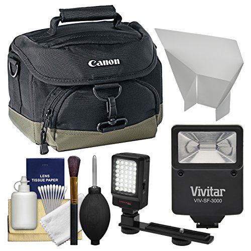Canon 100EG Digital SLR Camera Case - Gadget Bag with Flash + Video Light + Reflector + Cleaning Kit for Rebel T6s, T6i, T7i, EOS 77D by Canon