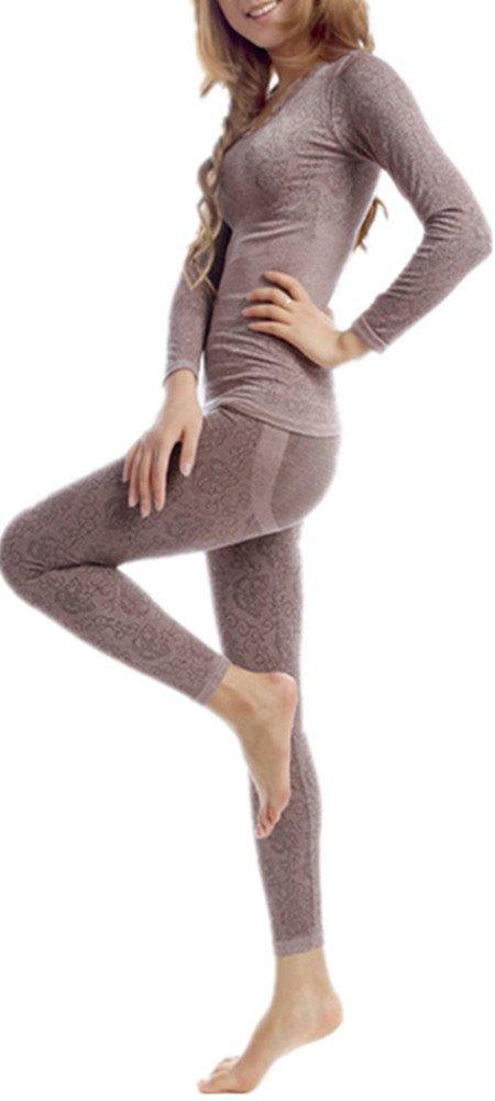 LANBAOSI Women's Lace Stretch Seamless Top & Bottom Thermal Underwear Set Coffee,Free Size