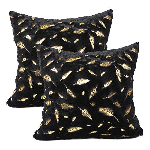 YOUR SMILE Pack of 2 Solid Color Gold Feather Plush Fur Decorative Throw Pillow Case Cushion Cover Pillowcase for Couch Sofa Bed,18 x 18 - Insert Gold Solid