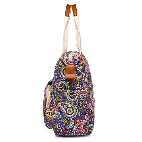 Design Bag Purple Malirona Top Women Shoulder Satchel Purse Handbag Handle Floral Crossbody Travel Canvas Flower 7wSwgxBqF