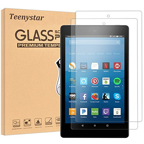 Fire HD 8 Screen Protector, Teenystar Tempered Glass Screen Protector for Fire HD 8 Tablet (7th 2017 Release / 6th 2016 Release) - 9H, HD, Bubble Free, Anti-Scratch (2 Pack)