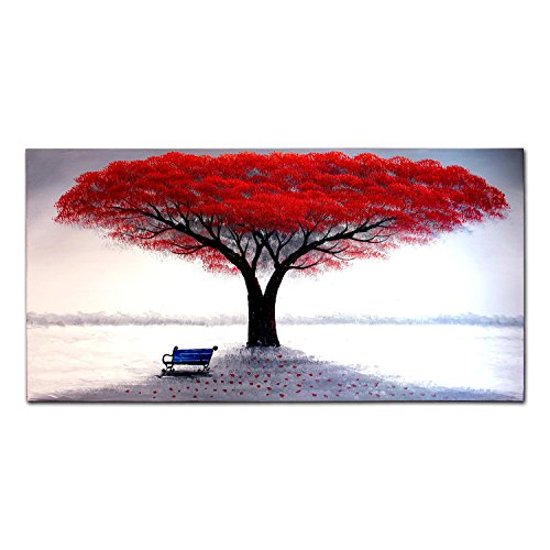 VASTING ART 1 Panel 100% Hand-Painted Oil Paintings Large Red Tree Garden Chair Shadow Modern Abstract Beautiful Artwork Stretched Framed Ready To Hang Wall Decor Home Decoration Red White Living Room