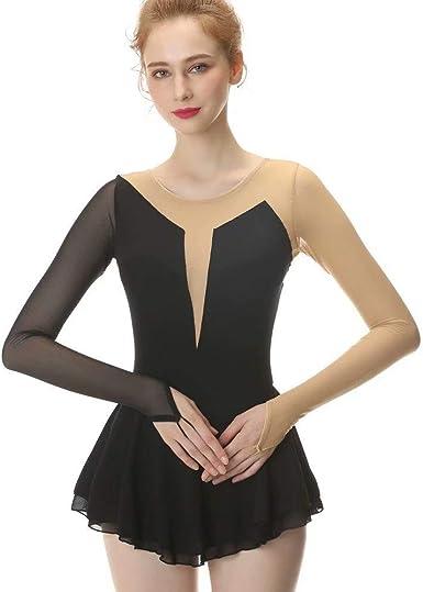 US Women Girls Figure Ice Skating Dress Long Sleeve Ballet Skirt Leotard Dress