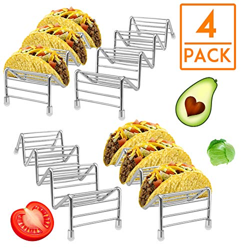 - HR Stainless Steel Taco Holders Taco Stand Hold 12 or 16 Hard or Soft Shell Tacos Truck Tray Style Oven Safe for Baking(4pack)
