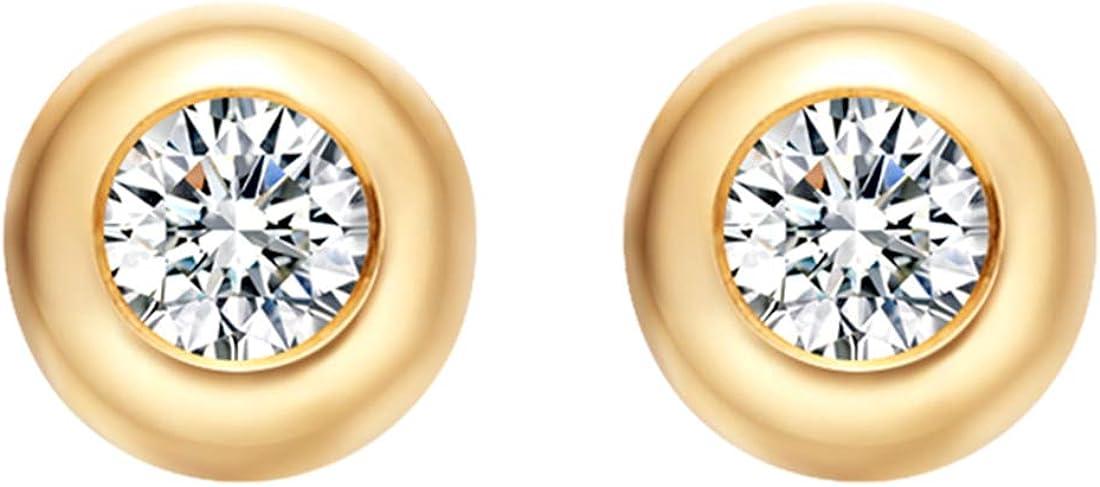 Carleen Solid 18K Gold Solitaire Round Diamond Dainty Stud Earrings for Women Girls, Diameter 3.8mm/4.8mm