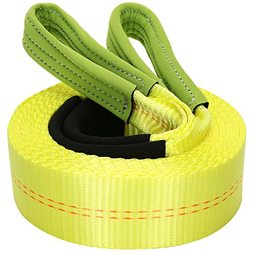 Fantastic Deal! Tow Strap, BESWILL 2'*20' Recovery Strap with Waterproof Reinforced Loops, Prote...