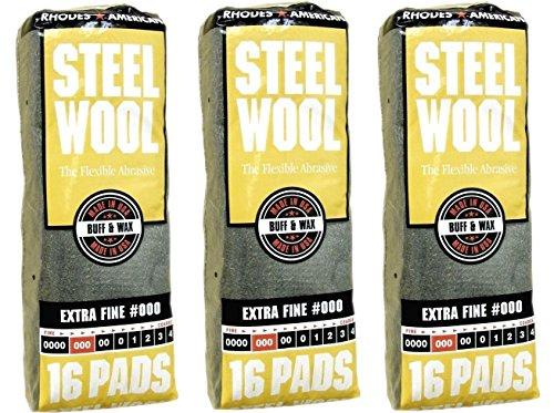 Wax Steel Wool (Homax 106601-06 Steel Wool Pads Poly Bag 16 Pads/Pkg, 3 Pack, 48 Pads Total)