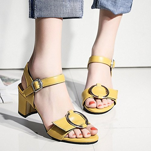 TAOFFEN Women Classic Open Toe Ankle Strap Slingback Block Heel Sandals 923 Yellow oG8yD