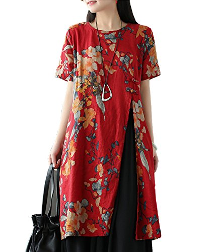 YESNO E81 Women Casual Loose Floral Blouse Dress 100% Linen Chinese Traditional Frogs Side Split Short Sleeve Pocket]()