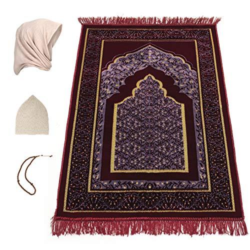 Prayer Rug Thick Velvet, Prayer Mat, Free Hijab, Free Prayer Beads and Free Prayer Cap, Great Ramadan Gift, Eid Gift for…