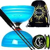 Sundia Shining Diabolo (Choice of Colors) Large Triple Bearing Diabolo Set with Henrys Pro Fibre Handsticks