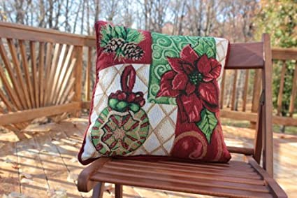 LTD DB12900CC-1616 Tache Festive Christmas Poinsettia Elegant Holiday Tidings Decorative Tapestry Accent Throw Pillow Cushion Cover 2 Piece 16 x 16 2 Piece 16 x 16 YULONG HOLDING GROUP CO