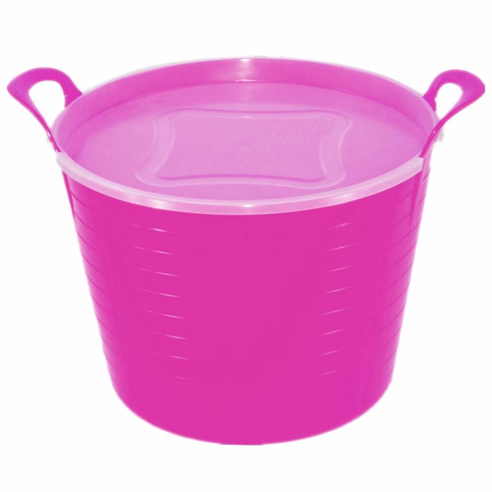 42L PINK FLEXI TUB WITH LID, TRUG, FEEDING BUCKET, WATER BUCKET, GARDEN, FLEXIBLE KETO PLASTICS