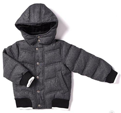 Heather Wool Flannel (Kapital K Boys' Down Wool Flannel Puffer Jacket, Grey Heather, 3)