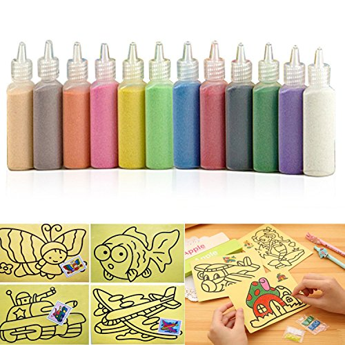 Sand Art kit , Colored Sand Art Kit Art Sand Scenic Sand wiht 10 Sheets Sand Art Painting Cards Set Children Art Toy, 12 Color (0.92 LB) ()