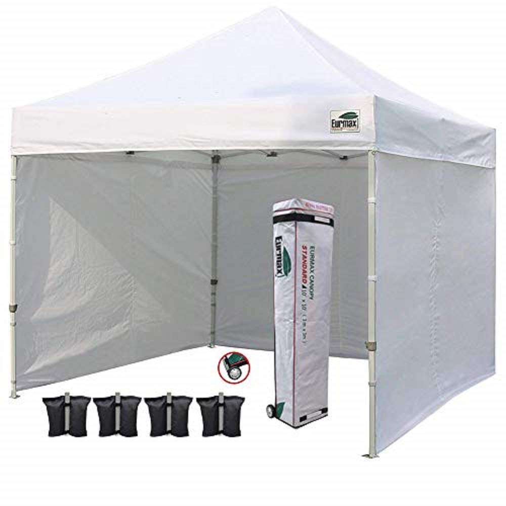 Eurmax 10 X 10 Pop Up Canopy Commercial Tent Outdoor Instant Canopies Party Shelter With 4 Zippered Sidewalls And Carry Bag Bonus Canopy Sand Bags White Family Tents Garden