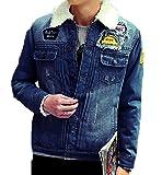 AvaCostume Men's Winter Fleece Lined Patch Denim Jacket Coats, Dark Blue Medium