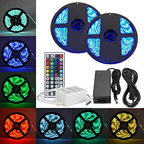 eTopxizu 2 Reels 32.8Ft RGB LED Strip Light 5050 SMD 30leds/m, Full Kit IP65 Waterproof Flexible LED Strip with 44key 2 Ports IR Remote controller and DC12V 5A Power Adapter for Indoor and Outdoor