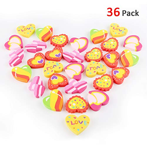 Konsait 3 Dozen (36) Valentines Erasers Rubber Heart Erasers Assorted Party Favor Supplies Classroom Teacher Rewards Goody Bag Treat Bag Party Bag Filler for Kids Students