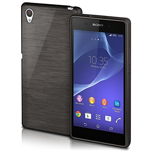 Xperia Z2 Case, OneFlow [Brushed Series Design] Liquid Silicone Case for Sony Xperia Z2 Shockproof Case Soft Back Cover Non Slip Grip - SLATE-BLACK Liquid Series