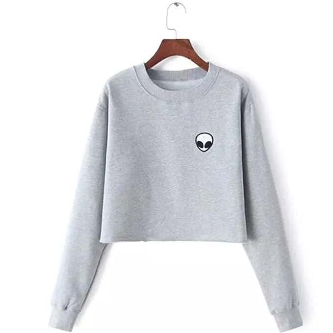 b8b7ea827 Long Sleeve Embroidery Alien Funny Crop Top Sweatshirt Women Fleece ...