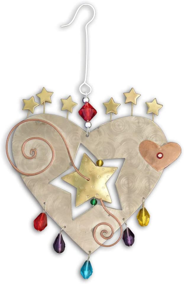 Pilgrim Imports Whimsical Starburst Heart Bronze Nickel and Copper Hanging Ornament Garden Planter Handmade Gift Packaged