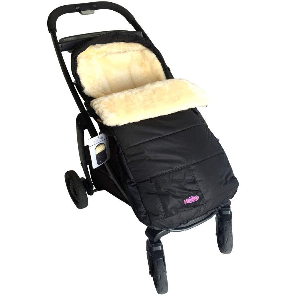 Premium Australian Sheepskin Footmuff Universal Fits for All Kinds Stroller Pushchair Jogger with Waterproof Shell and Cream Lambskin