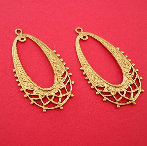 BeadsTreasure 2 Art Deco Raw Brass Stamping Filigree Chandelier Pendant Earrings Making Jewelry ()
