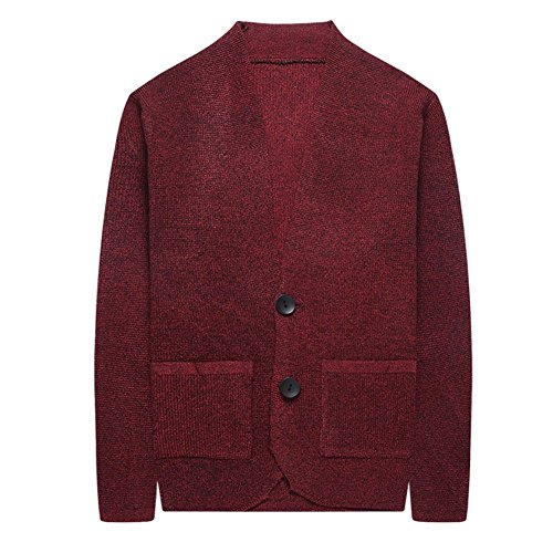 - XinDao Mens Relax Fit V-Neck Cardigan Cashmere Wool Blend Button with Pockets Wine Red US XS/Asia M