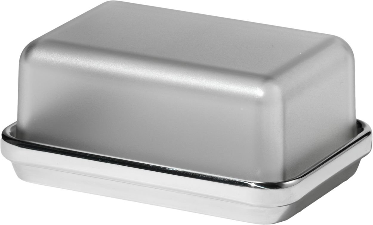 Alessi Butter Dish with San Lid in Steel Mirror Polished , Grey ES03 G tableware