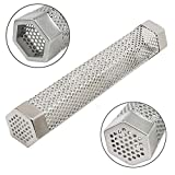 hothuimin Pellet Smoker Tube Perforated Stainless Steel BBQ Smoke Generator to Add Smoke Flavor to Grilled Foods 12'' Cuboid (Hexagon)