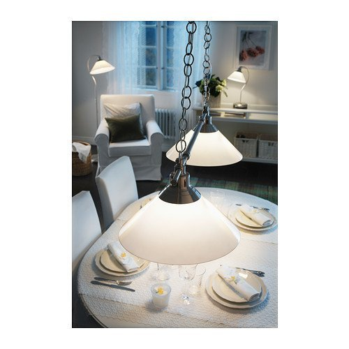 David Nickel Table Lamp (Pendant lamp-double Chain Nickel Plated Glass Lamp Living Room Bed Room Kitchen Dining Table Home Night Work Reading Lamp)