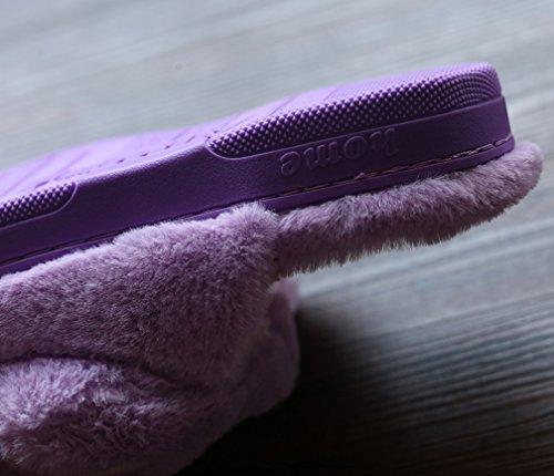 Cattior Mujeres Coral Cute Funny Slippers Fluffy Zapatillas Púrpura