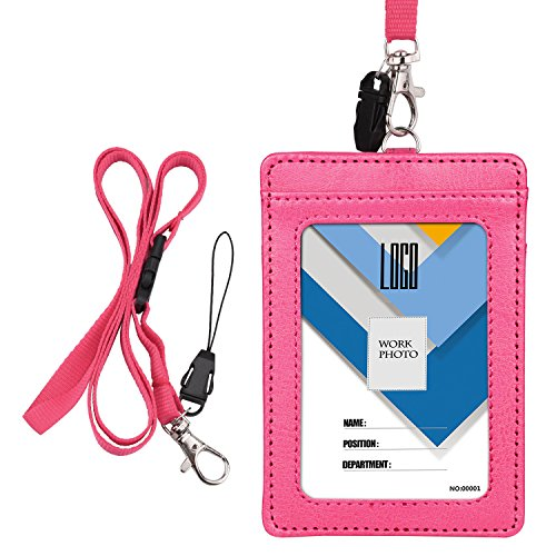 Wisdompro 2-Sided Vertical Style PU Leather ID Badge Holder with 1 ID Window and 1 Card Slot and 1 piece 22 inch Polyester Detachable Neck Lanyard/Strap (Holds 3 to 4 Cards) - Hot Pink