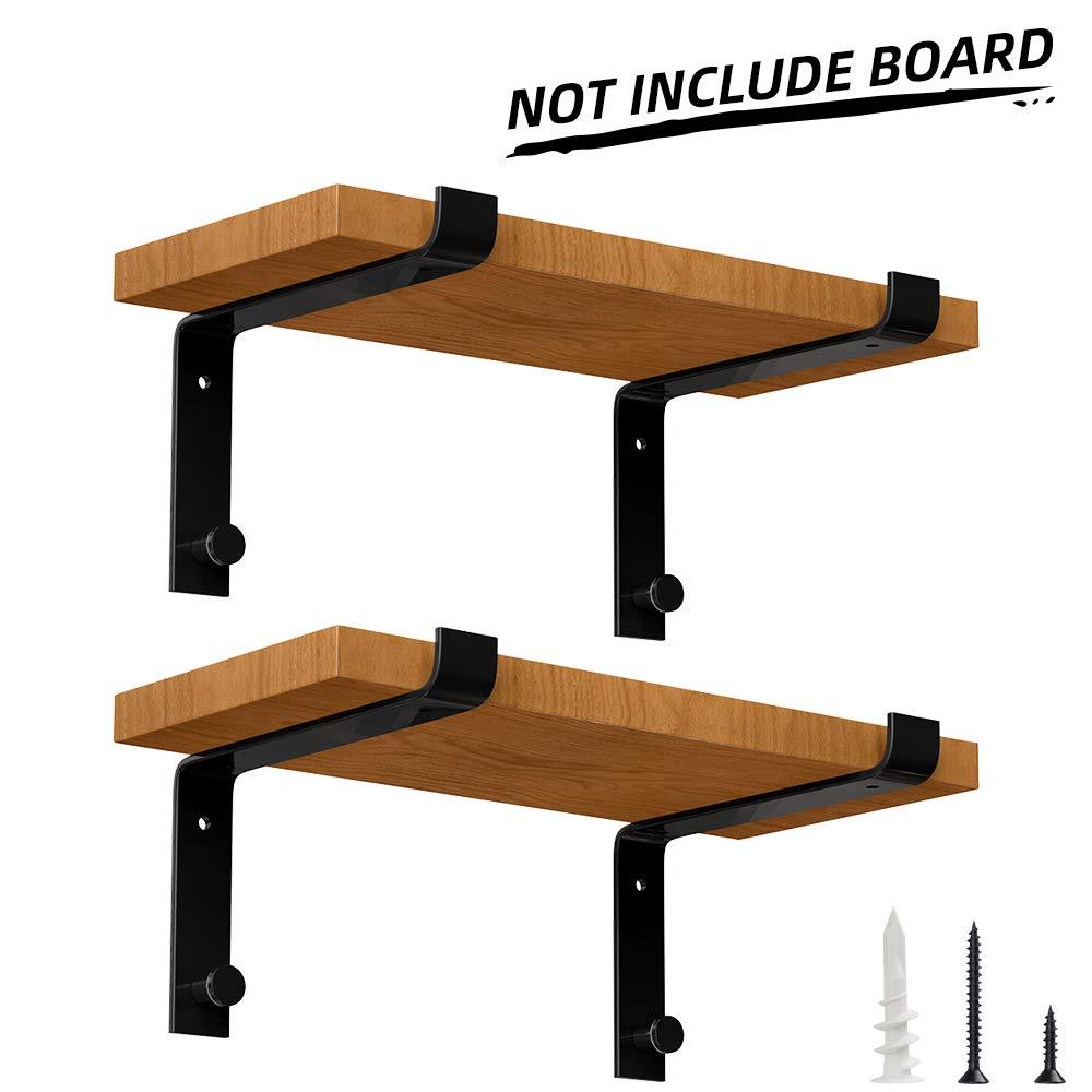 Specially Designed Metal Shelf Brackets 10 inch, Heavy Duty Floating Shelf Support Brackets, Modern Rustic Wall Shelf Brackets, Black (4 Pack)