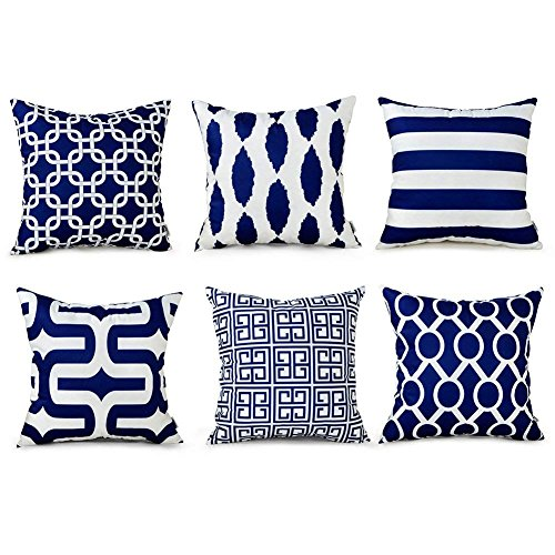 Top Finel Decorative Pillow Cover Set Soft Microfiber Outdoor Cushion Covers 20 X 20 for Couch Bedroom Car, Pack of 6, Navy