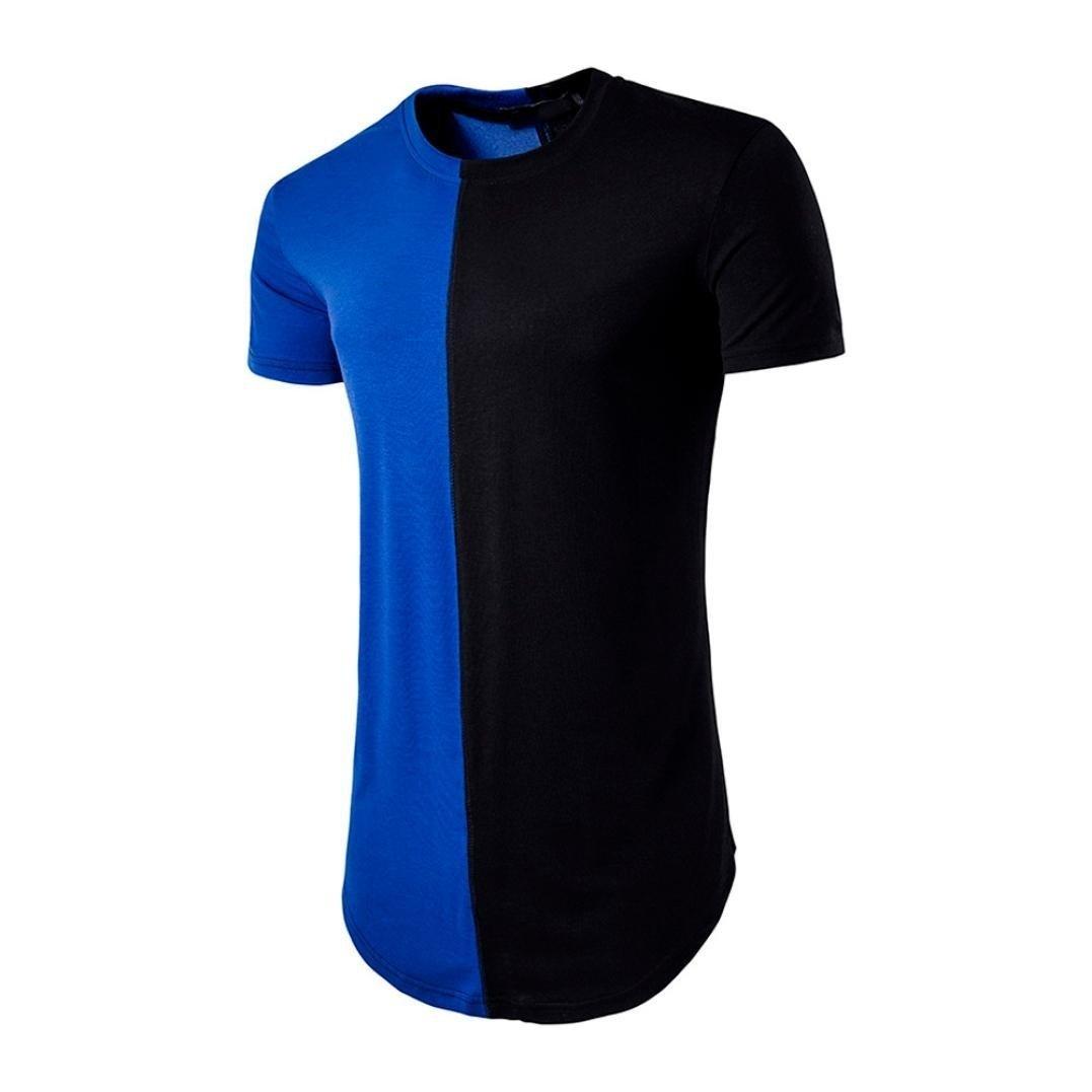 Elogoog Fashion Men's Casual Slim Color Block Patchwork Short Sleeve Shirt Top Hipster Round Neck Blouse (XL, Blue)