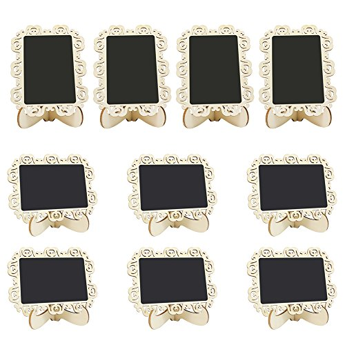 Meetory 10 X Mini Rectangle Chalkboards Decorative Border Black Board with Support Easel for Message Board Signs, Weddings and Parties (Buffet Name Tags)