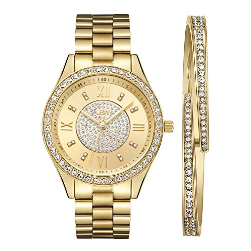 JBW Women's J6303-SetB Mondrian Jewelry Set 0.16 ctw 18k Gold-Plated Stainless Steel Diamond Watch