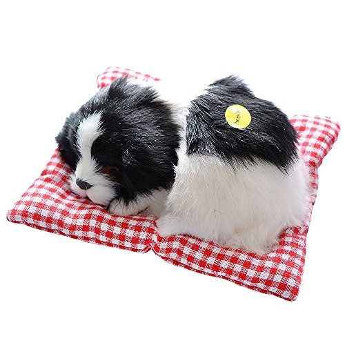 - Toonol Vivid Simulation Plush Sleeping Dogs Doll Toy with Sound Kids Toy Birthday Gift Doll Decor Stuffed Puppies Toys Color Black & White