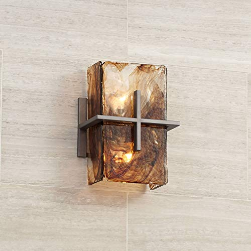 "Asian Wall Light Bronze Gold 8"" Art Glass Sconce Fixture for Bathroom Bedroom Hallway - Franklin Iron Works"