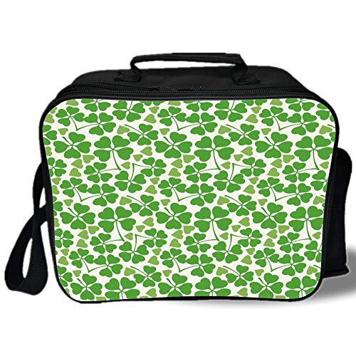 Irish 3D Print Insulated Lunch Bag,Gaelic Nature Garden Decor Spring Clovers with Cute Hearts Freshness Decorative,for Work/School/Picnic,Lime Green Pistachio White